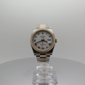 Rolex Datejust 36mm 116231 18ct Rose Gold and Steel White Dial on Oyster Bracelet Pre-owned