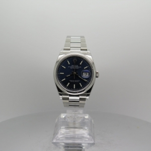 Rolex Datejust 36mm 126200 Blue Baton Dial Smooth Bezel Stainless Steel on Oyster Bracelet Pre-owned